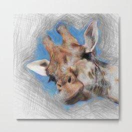 Artistic Animal Giraffe Metal Print