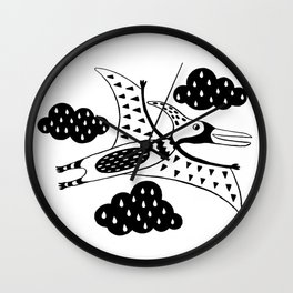 pterodactyl black and white Wall Clock