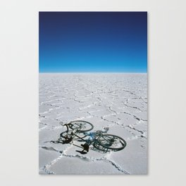 Salar de Uyuni & bicycle Canvas Print