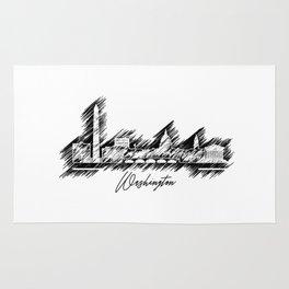 Washington graphic scribble skyline Rug