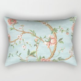 Rose bushes have thorns -Roses Flowers Floral Vintage Retro on Aqua Rectangular Pillow