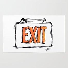 """Exit"" Hand Drawn Exit Sign Orange on White Rug"