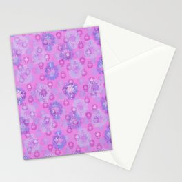 Lotus flower - rich rose woodblock print style pattern Stationery Cards