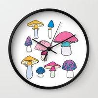 mushroom Wall Clocks featuring Mushroom by Elyse Beisser