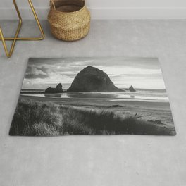 Cannon Beach Sunset - Black and White Nature Photography Rug