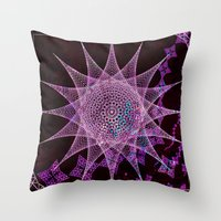 snowflake Throw Pillows featuring Snowflake by Nick Brummer
