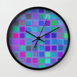Bright overlapping rounded squares Wall Clock