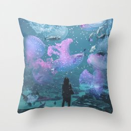 Cosmic Life in Aquarium Throw Pillow