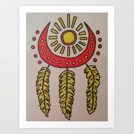 Feathers and sun Art Print