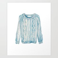 sweater Art Prints featuring Sweater by Eleni Paper Co.