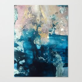 Timeless: A gorgeous, abstract mixed media piece in blue, pink, and gold by Alyssa Hamilton Art Canvas Print