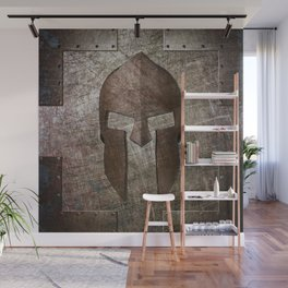 Molon Labe - Spartan Helmet on Riveted steel Wall Mural