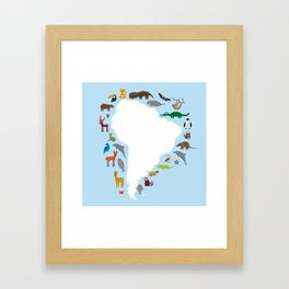 South America sloth anteater toucan lama armadillo manatee monkey dolphin Maned wolf raccoon jaguar Framed Art Print