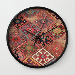 Rosettes Diamond and Stars // 19th Century Colorful Red Black Dusty Blue Space Ornate Accent Pattern Wall Clock
