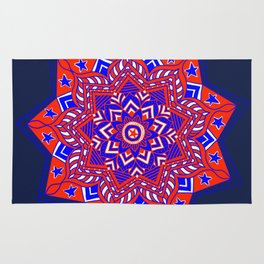Red White and Blue Mandala star swirl Rug