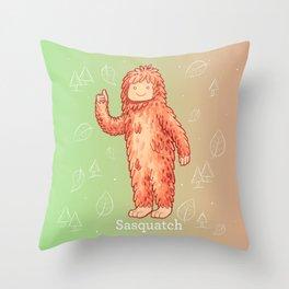 Sasquatch - Cute Cryptid Throw Pillow