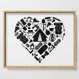 I Love Hiking | Summit Peak Camping Heart Nature Serving Tray