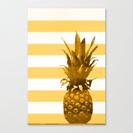 Pineapple with yellow stripes - summer feeling Canvas Print