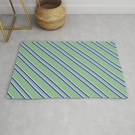 Dark Sea Green, Pale Goldenrod, and Blue Colored Striped Pattern Rug