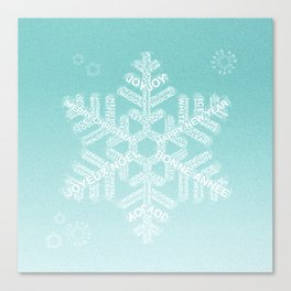 Typographic Snowfake Greetings - Ombre Teal Canvas Print