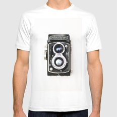 Yashica Retro Vintage Camera White MEDIUM Mens Fitted Tee