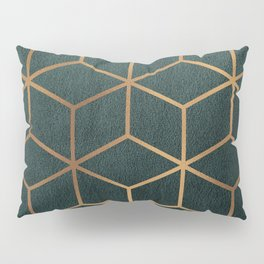 Dark Teal and Gold - Geometric Textured Gradient Cube Design Pillow Sham