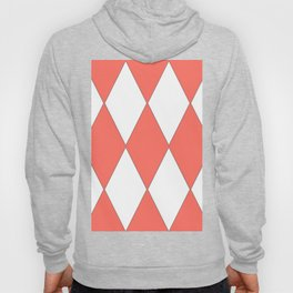 LIVING CORAL - LARGE HARLEQUIN DESIGN Hoody