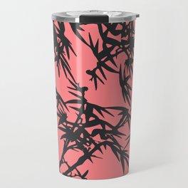 Girly coral gray tropical bamboo pattern Travel Mug