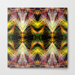 Yellow Bright Rays,Fractal Art Metal Print