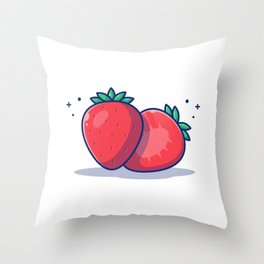 Strawberry Fruit Illustration Strawberry Slices Strawberry Throw Pillow
