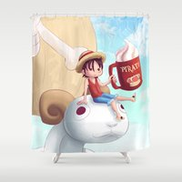 luffy Shower Curtains featuring Straw Hat Luffy by Amber Graves