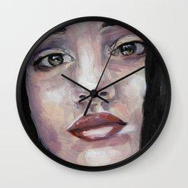 Portrait of beautiful girl, face, original art, oilpainting Wall Clock