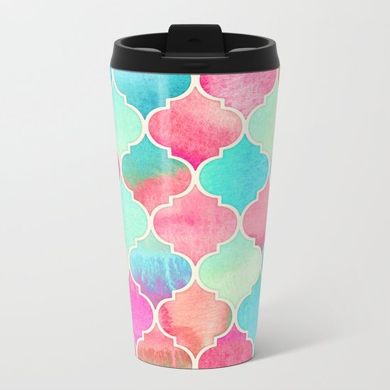 Watercolor Moroccan Patchwork in Magenta, Peach & Aqua Metal Travel Mug