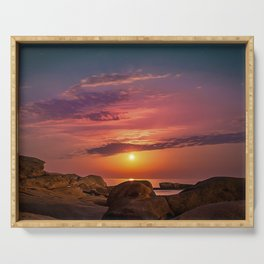 """Magical landscape with clouds and the moon going up in the sky in """"La Costa Brava, Spain"""" Serving Tray"""