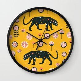 Fantastic jaguars and flowers Wall Clock