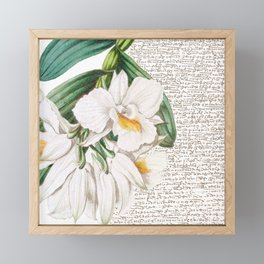 White Orchids Collage Framed Mini Art Print