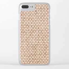 Beige flax cloth texture abstract Clear iPhone Case
