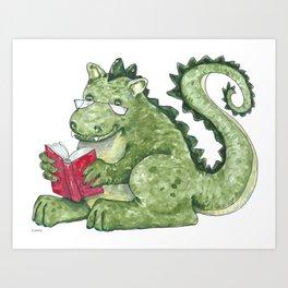 Dragon A Book OUt Art Print