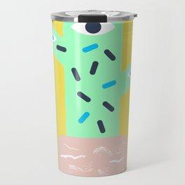 Yellow cactus with pink pot Travel Mug