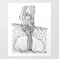 tattoos Art Prints featuring tattoos by ivette mancilla