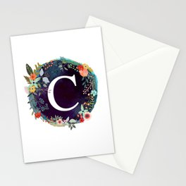 Personalized Monogram Initial Letter C Floral Wreath Artwork Stationery Cards