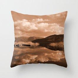 Monochrome Cloudy Lakescape  Throw Pillow