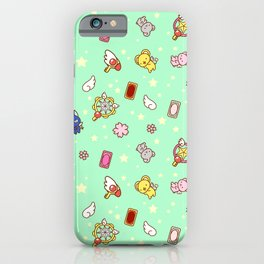 cardcaptor sakura cute pattern mint iPhone Case
