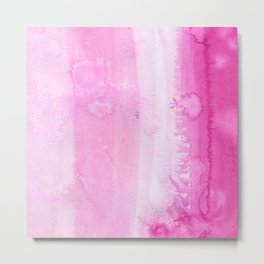 Abstract pink watercolor hand painted pattern Metal Print