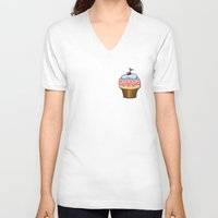 cupcake V-neck T-shirts featuring Cupcake by AnnaCas