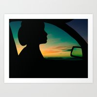 Art Print featuring Sunset Drive by Intrepid Wallflower