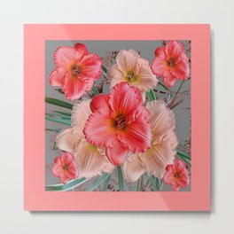 CORAL COLORED  PINK & CREAM DAYLILIES Metal Print