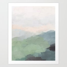 Seafoam Green Mint Black Blush Pink III Abstract Nature Land Art Painting Art Art Print