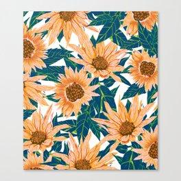 Blush Sunflowers Canvas Print