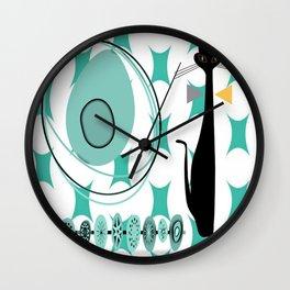 Mid-Century Modern Atomic Art - Teal - Cat Wall Clock